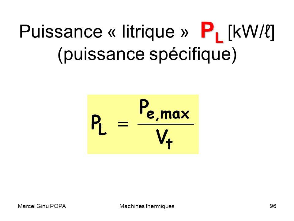 Puissance « litrique » PL [kW/ℓ] (puissance spécifique)
